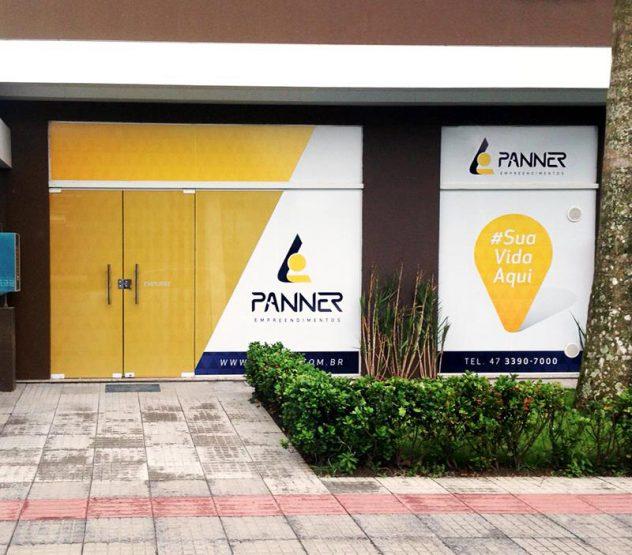 criação de layout para a fachada do escritório da panner em itajaí